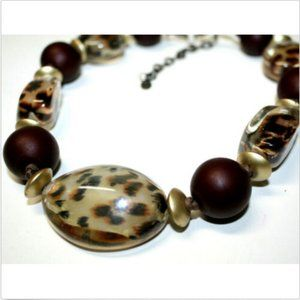 JS Collections Jewelry - JS Necklace Choker Clear Leopard Print Brown Beads